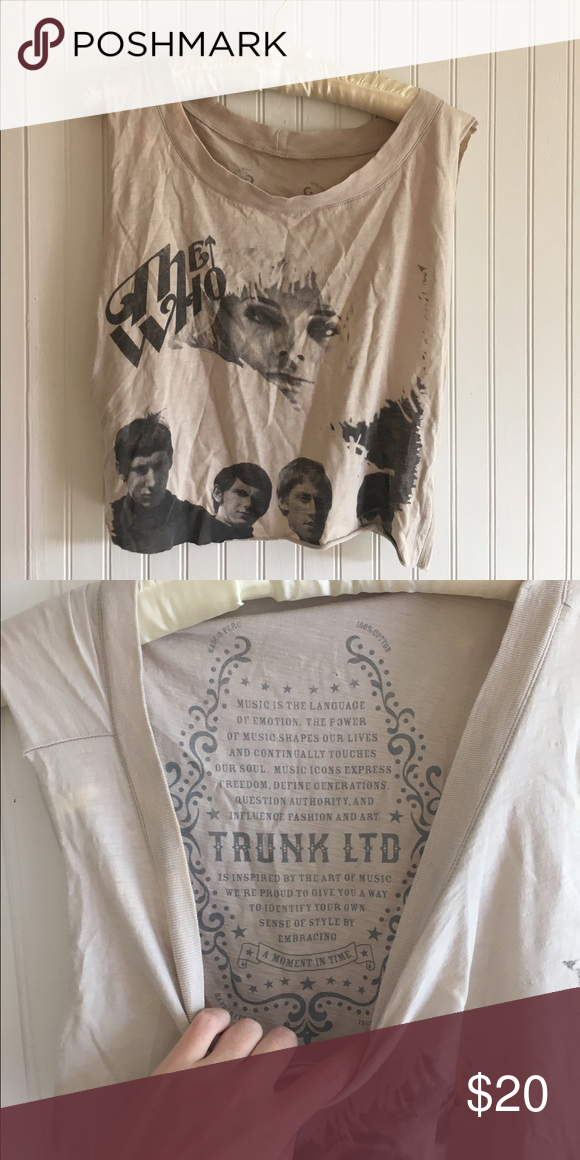 Vintage looking The Who crop muscle tee The Who graphic tee. cut off sleeves, cool washed material Vintage Tops