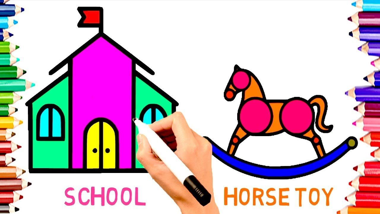 Teach Children Draw School Horse Toy Coloring Book Pages Learn Engli Teaching Kids Drawing For Kids Coloring Book Pages