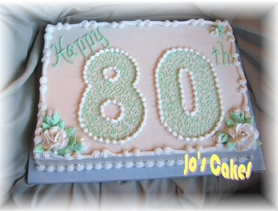 Simple 80th Sheet Cake With Images 80 Birthday Cake Birthday