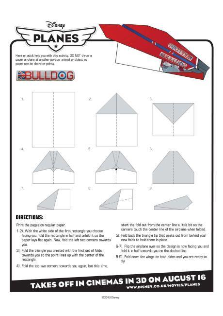 disney planes bulldog paper plane instructions planes disney disney planes airplane. Black Bedroom Furniture Sets. Home Design Ideas