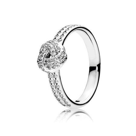 30bd56b47 Pandora Sparkling Love Knot Clear CZ Ring Size 6 - 190997CZ-52, Adult  Unisex, Metal Type