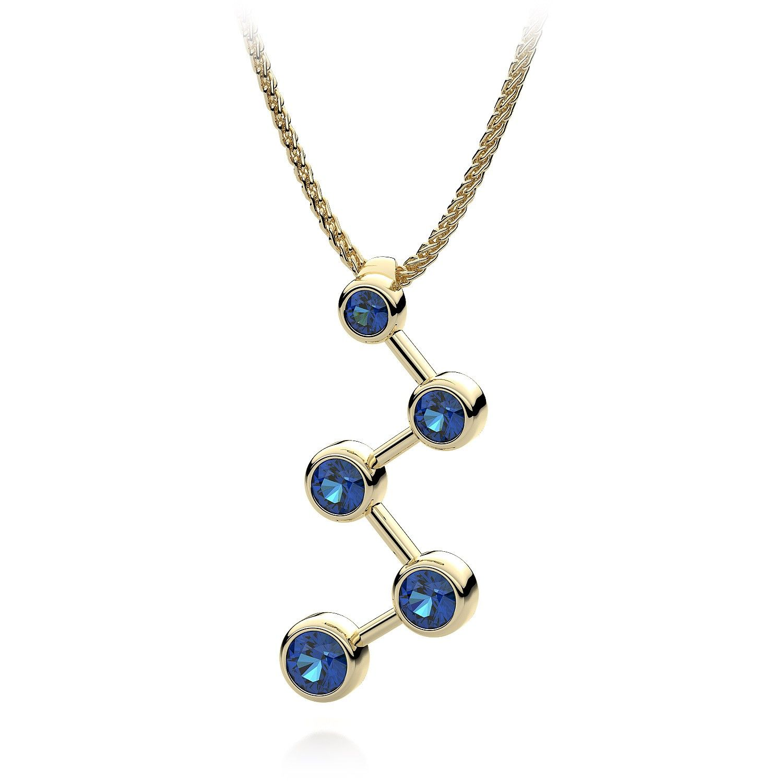 Blue sapphire journey of love zig zag gemstone pendant necklace in blue sapphire journey of love zig zag gemstone pendant necklace in 14kt yellow gold aloadofball Images