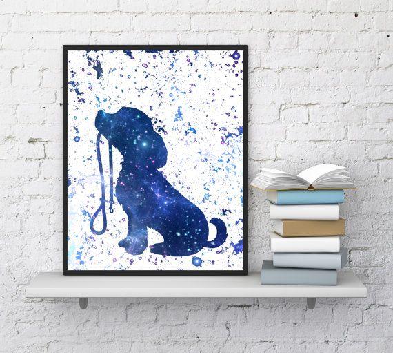 Dog print, Dog printable art, Dog walk, Blue watercolor print, Cute dog, Dog silhouette, Dog poster, Kids room decor, InstantDownloadArt1