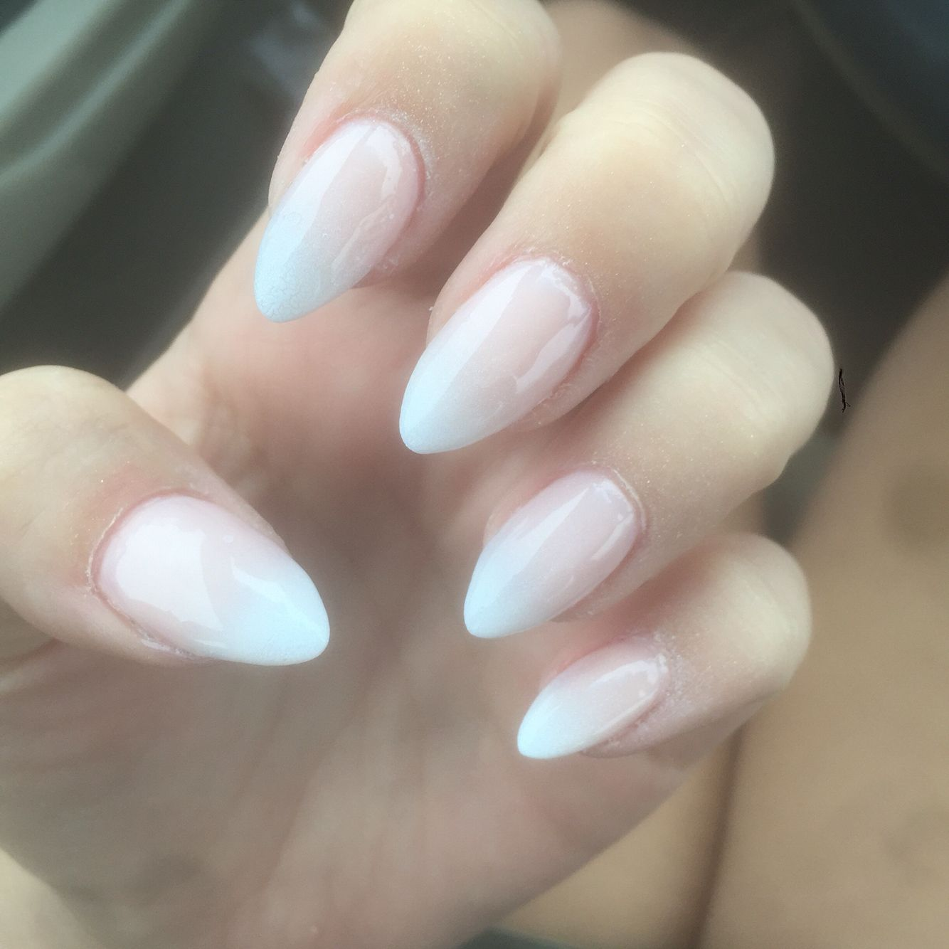 Almond Ombre French Tips Acrylic Nails Almond Short Almond Acrylic Nails Summer Nails Almond