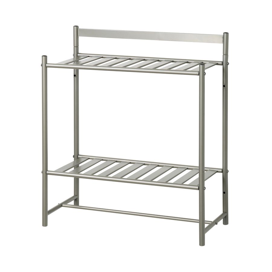 Zenna Home Simple Storage 2-Tier Satin Nickel Metal Bathroom Shelf ...