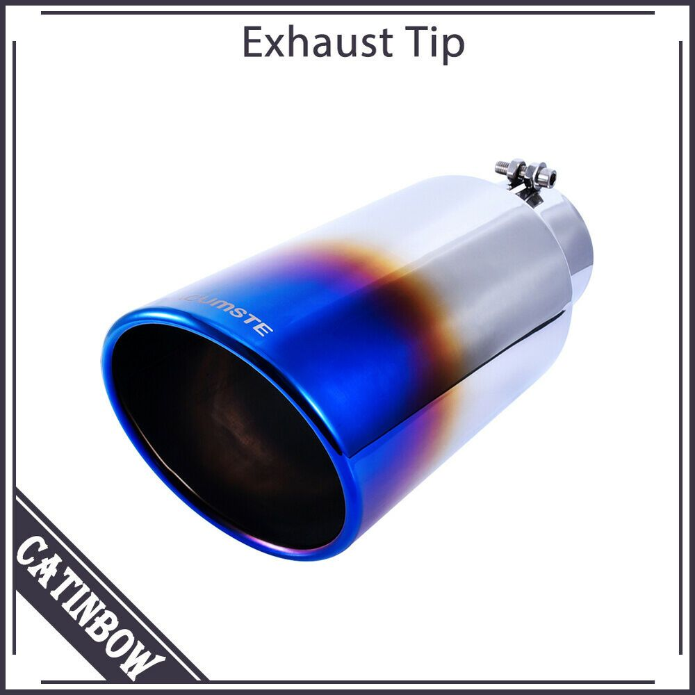 """2x Blue Burnt Stainless Steel Exhaust Tip 4/"""" Outlet 9/"""" Long 2.5/"""" Inlet"""