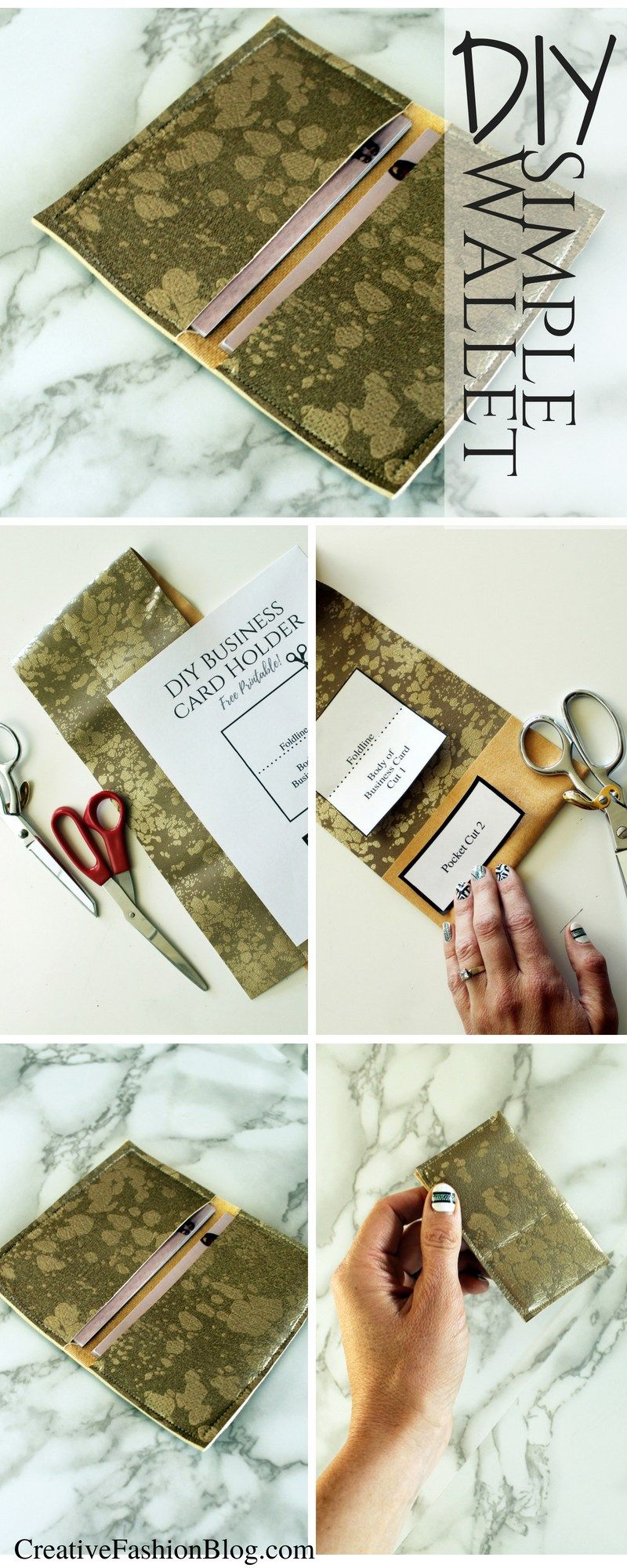 Diy Faux Suede Business Card Holder Wallet Tutorial With Free Printable Pdf Pattern This