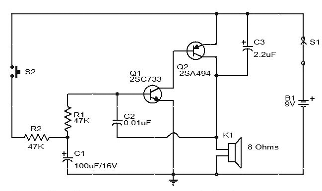 Siren Circuit diagram using two Transistors (With images