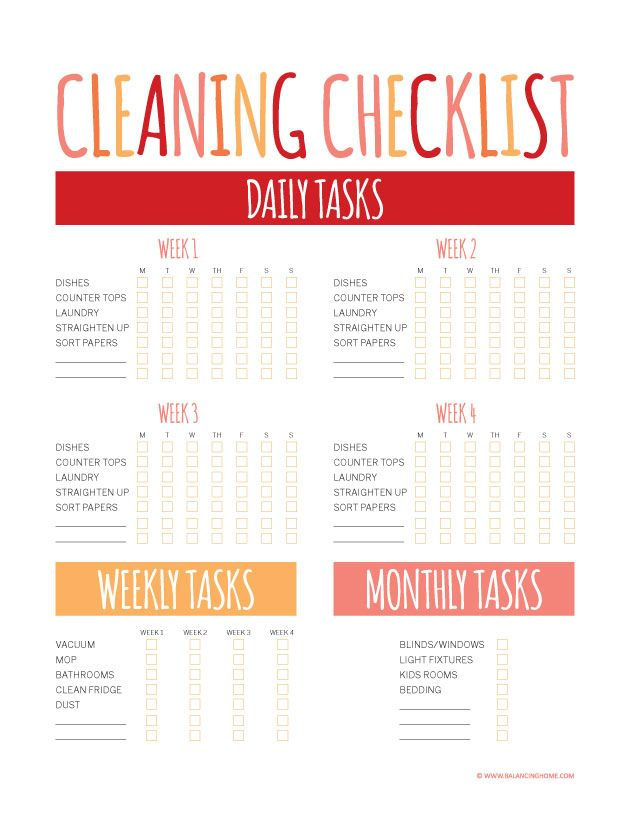 Cleaning Tips & Printables | Cleaning checklist printable ...