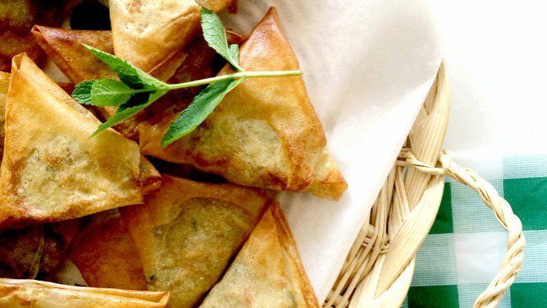 Briwat met spinazie en verse kaas