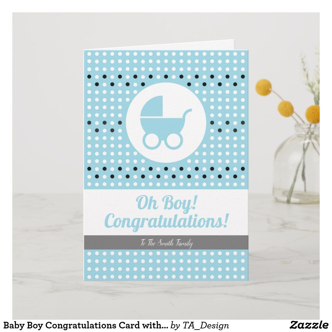 Baby Boy Congratulations Card with Stroller