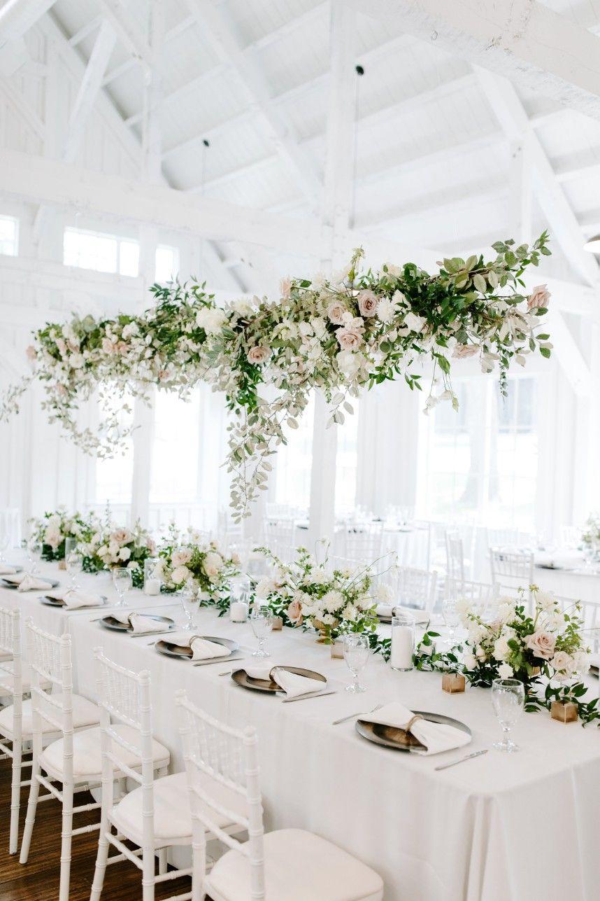 Julianna Hopper Weds Travis Hobbs Floral Filled Neutral Wedding Hanging Flowers Wedding Hanging Centerpiece Floral Arrangements Wedding