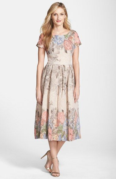 Adrianna Papell Beaded Print Metallic Jacquard Midi Dress