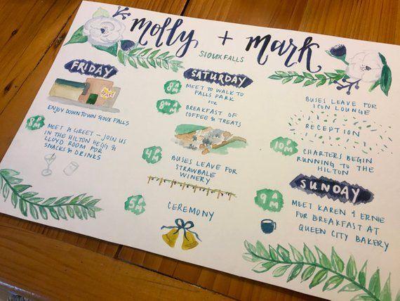custom watercolor hand painted wedding schedule / wedding schedule