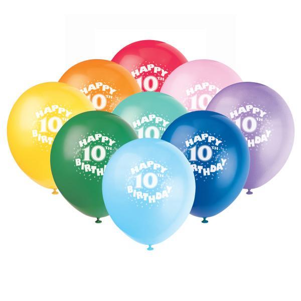 12 Helium Happy 10th Birthday Balloons Multicolor 6 Ct