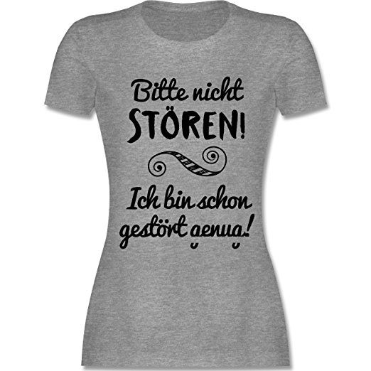 S - Grau Meliert - L191 - Damen T-Shirt Rundhals - tshirt sprüche lustig t- shirt sprüche lustige tshirt nähen tshirt bemalen shirt pimpen diy shirts  kaufen ...