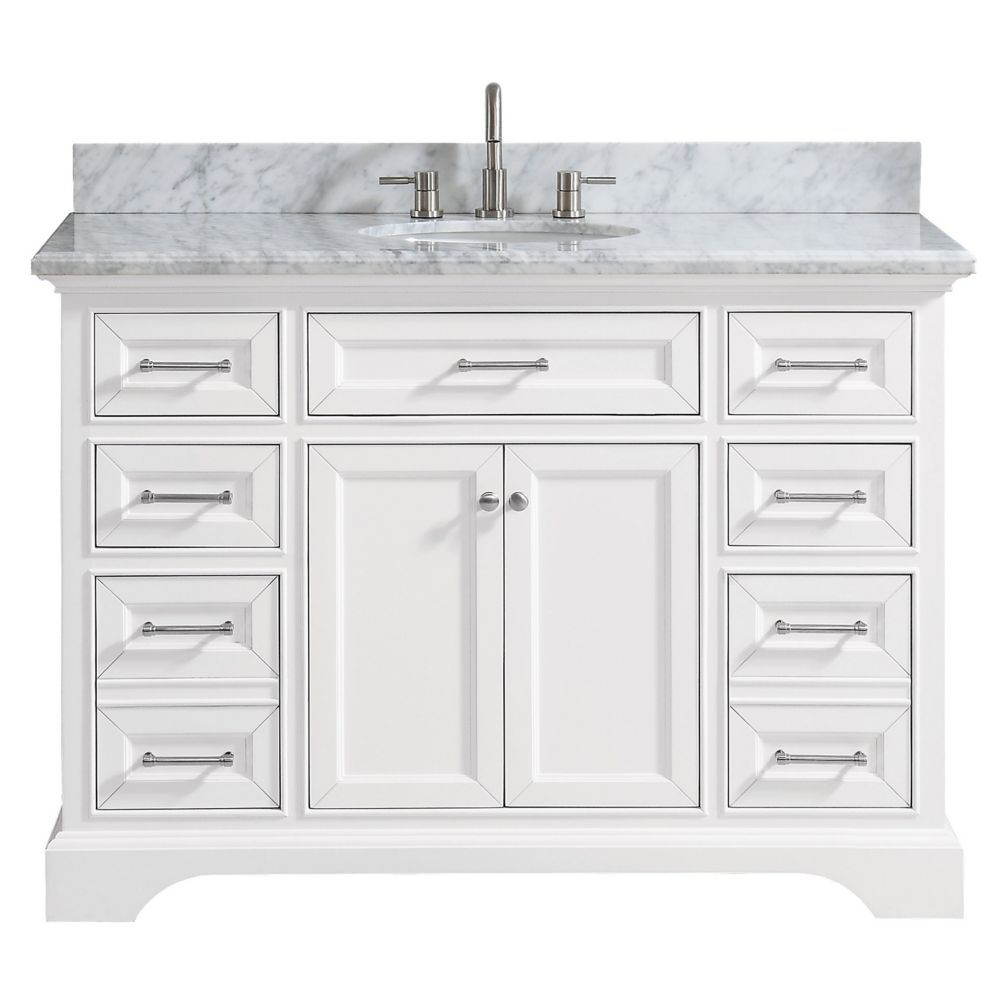 Windlowe 49 Inch Bath Vanity In White With Carrara White Marble