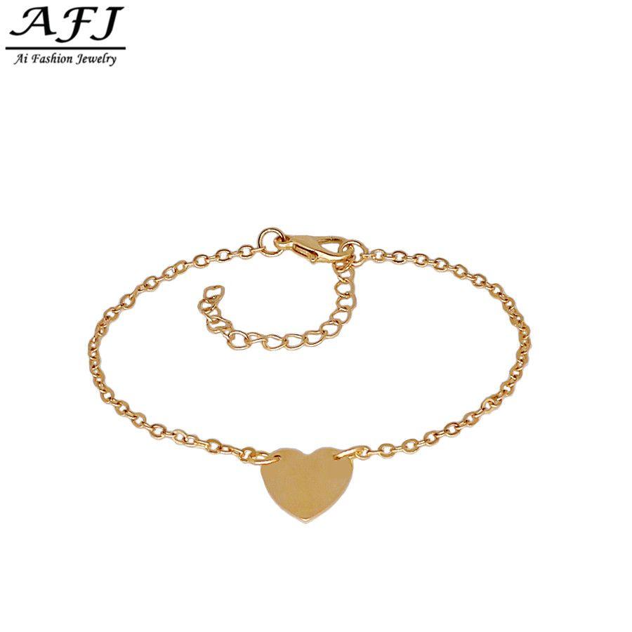 Afj fashion solid heart bracelets for women man simple feminina