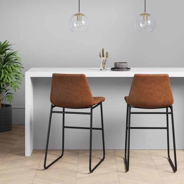 Bowden Faux Leather and Metal Counter Height Bar Stool ...