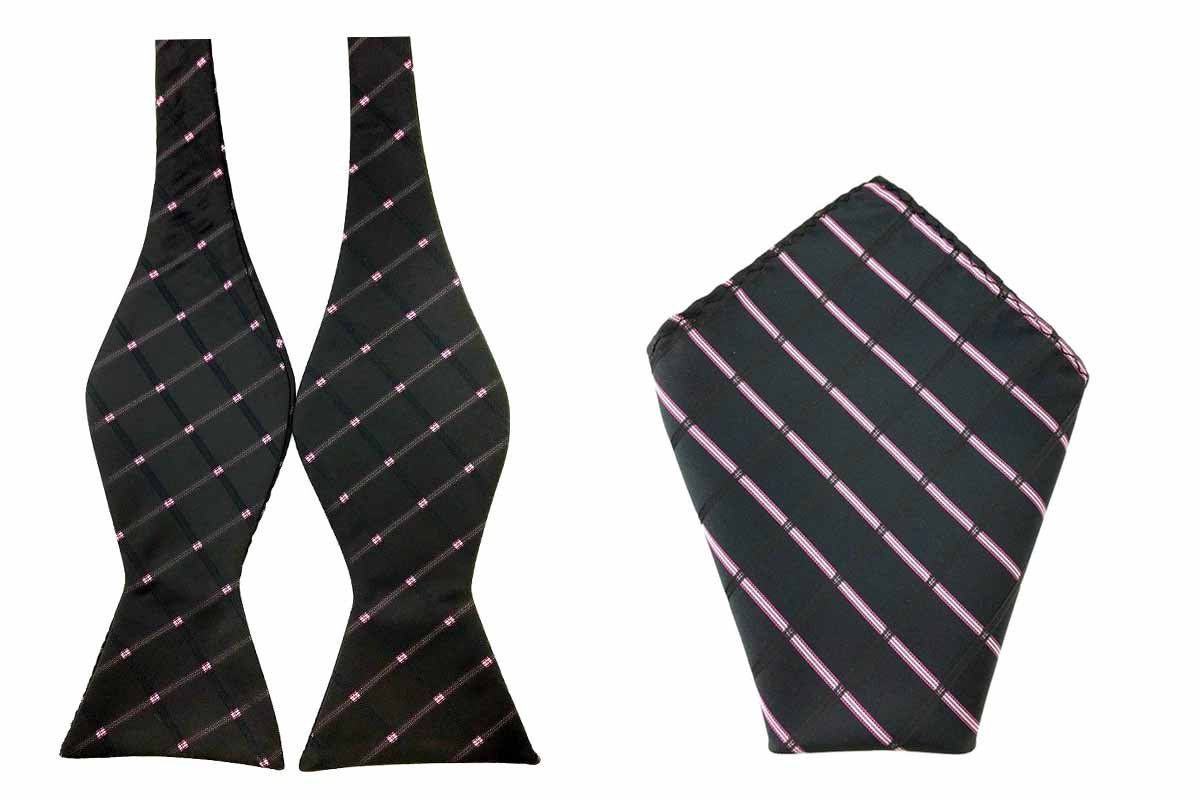 Men/'s Pink with White Polka Dots Self-tied Bowtie /& Pocket Square Combo for Him