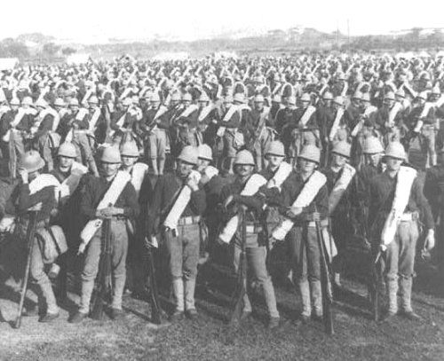 The 38th US Volunteer Infantry Regiment upon their arrival at Manila, Dec. 26, 1899.