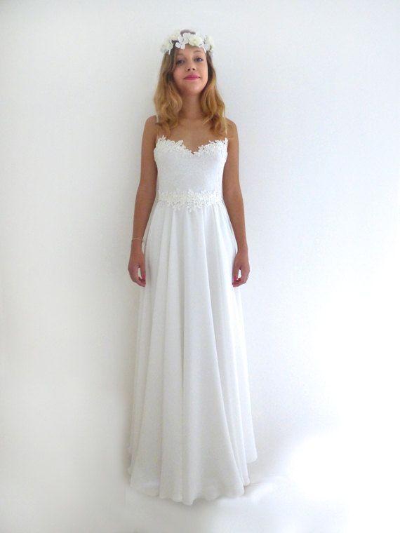Lace wedding dress low back Aline Romantic vintage inspired Custom ...
