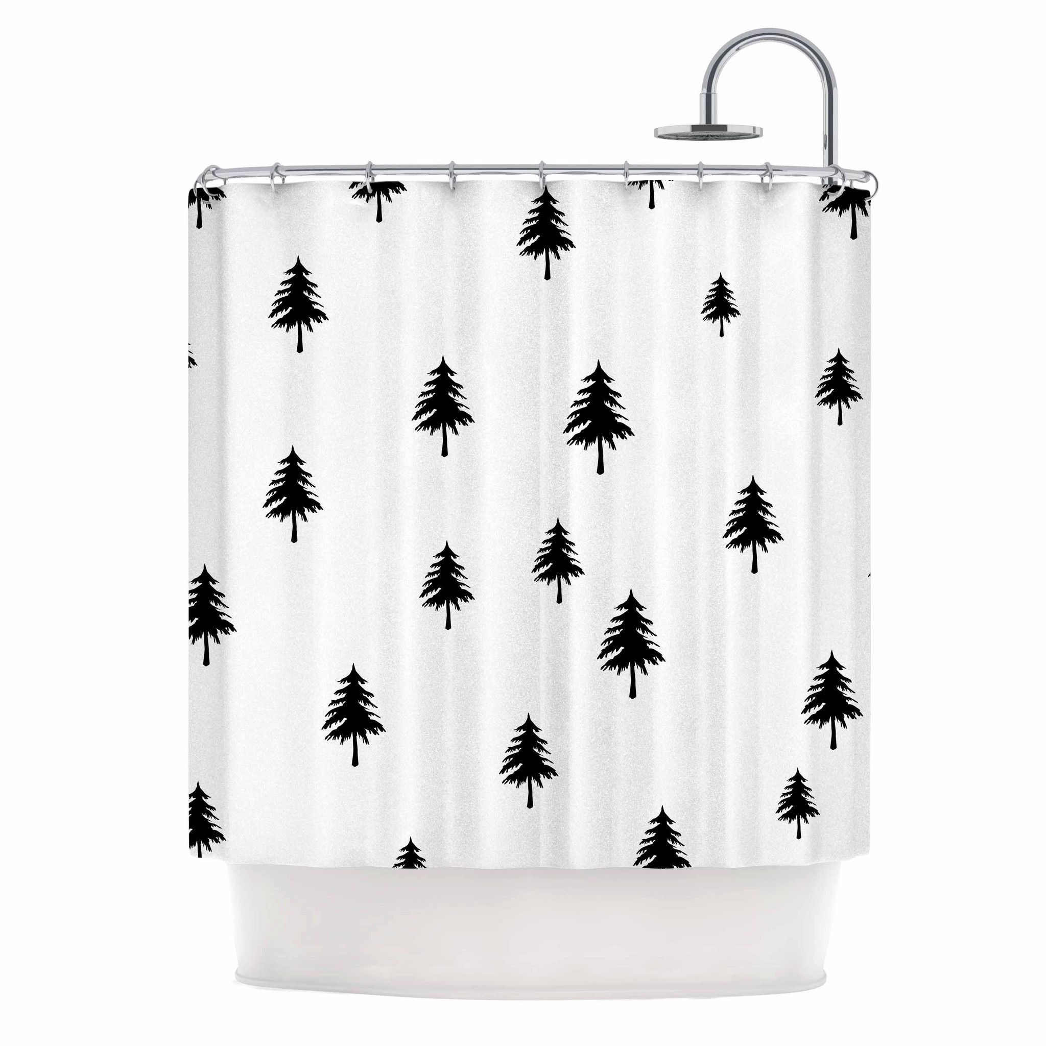 Suzanne Carter Pine Tree Black White Shower Curtain From Kess