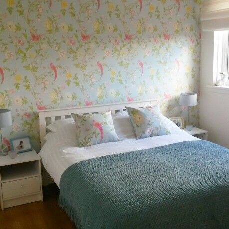 Laura Ashley Summer Palace Duck Egg Wallpaper Fabric Homemade Cushions