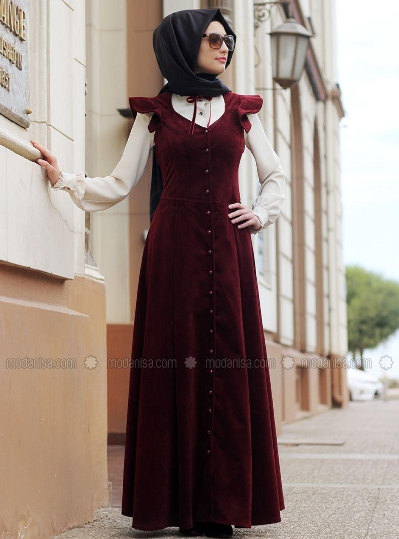 1eca0952ac6d1 Prenses Kadife Elbise - Bordo - Gamze Polat | elbise dikimi için in ...