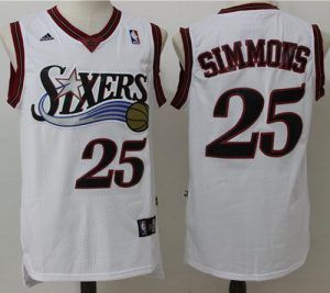 76ers  25 Ben Simmons White Throwback Stitched NBA Jersey ... 9d114a688