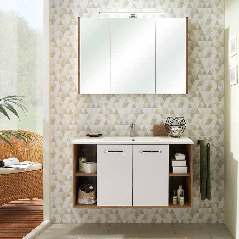 Badezimmer Waschplatz in weiß Glanz mit Eiche Riviera RAIPUR-66 ...