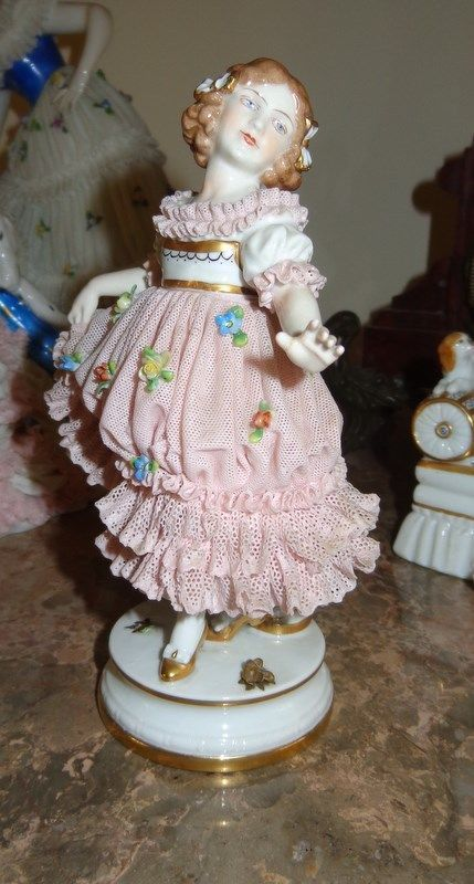 Wonderful Lady Volkstedt Dresden Ballerina Porcelain lace