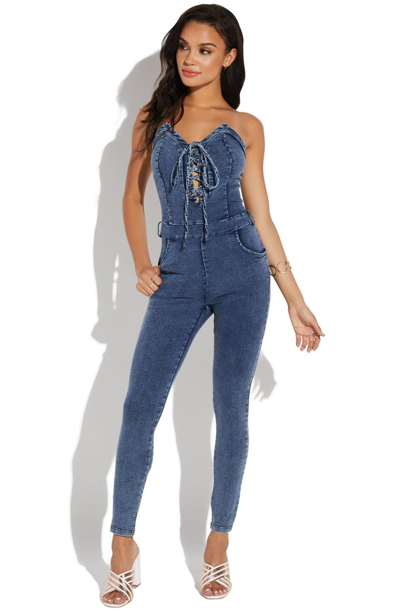 9c2d46d92ee62 Lace up halter denim jumpsuit in 2019 | bodysuits for lisa | Denim ...