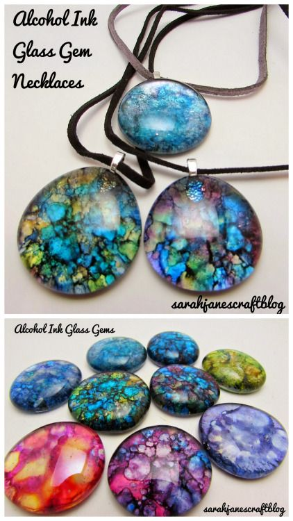 DIY Alcohol Ink Glass Gem Necklace - plant vase filler marbles from dollar store with glue on pendant bails and necklace cord.