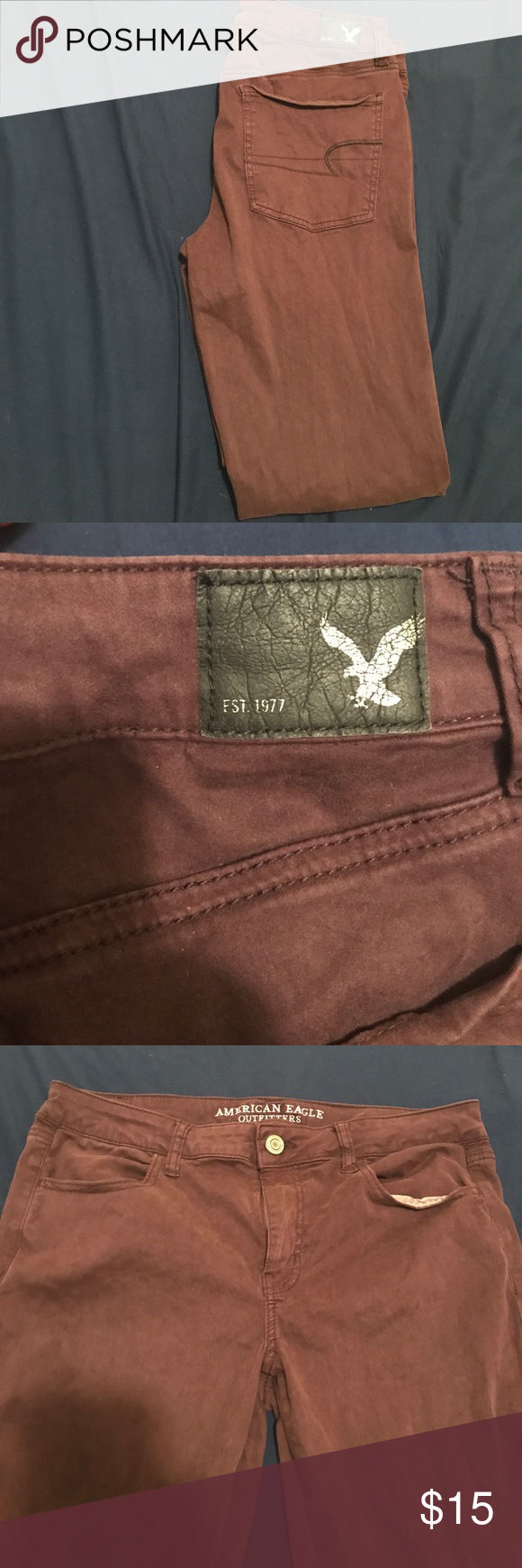 Purple American Eagle sateen jeggings! A deep purple eggplant jeggings from American Eagle. Very very soft and stretchy. Regular length! American Eagle Outfitters Jeans Skinny
