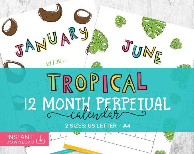 Perpetual Tropical Calendar, Daily Planner, Wall Calendar, Printable - daily calendar printable