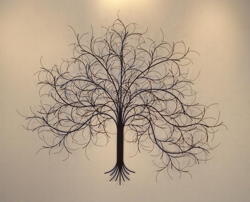 March Tree Metal Wall Art With Refletions