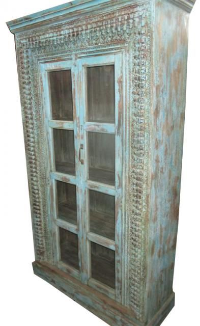 Vintage Cabinet Traditional Hand Carved Wooden Glass Door Armoire