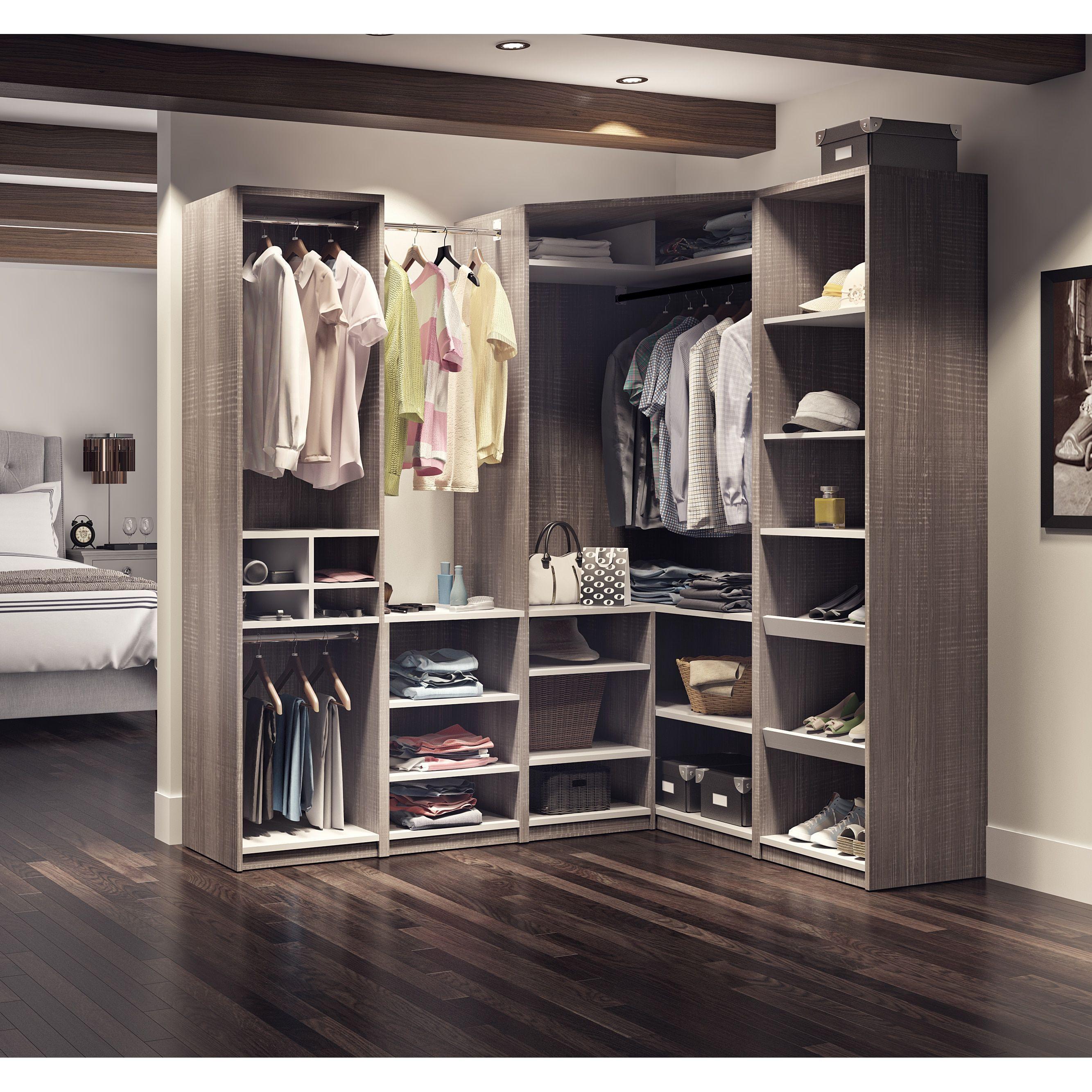 Cielo By Bestar Classic Corner Walk In Closet Bark Grey Brown Gray Laminate Closet System Closet Designs Corner Closet