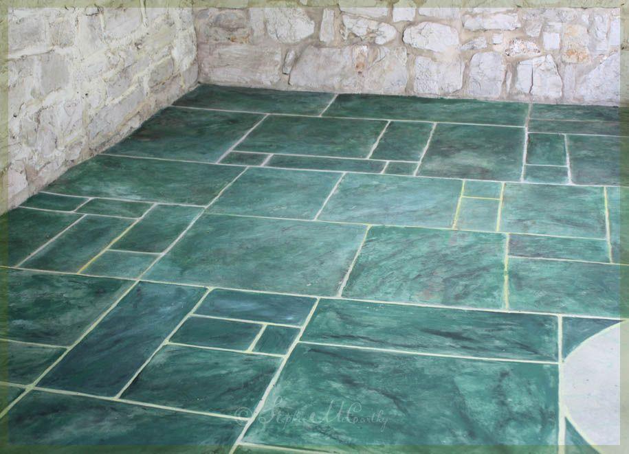 Paint a Concrete Floor With Faux Marble Tiles Concrete