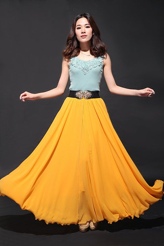 Super-long Yellow Maxi Chiffon Skirt Wedding Skirt Spring Long ...