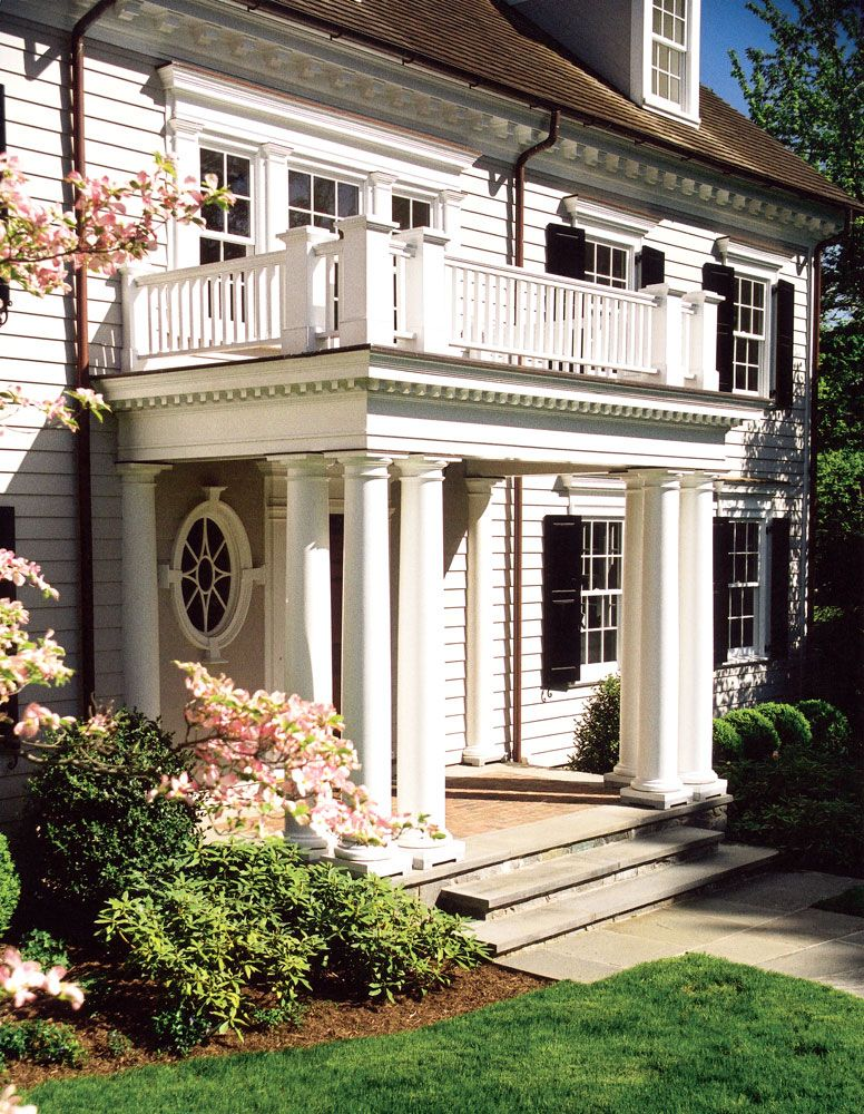 Charles Hilton Architects Classic Wood Georgian Colonial - Colonial portico front entrance