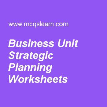 Business Unit Strategic Planning Worksheets Marketing