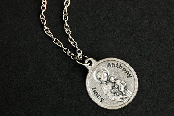 St Anthony Necklace  Catholic Saint Anthony Prayer Necklace  Round