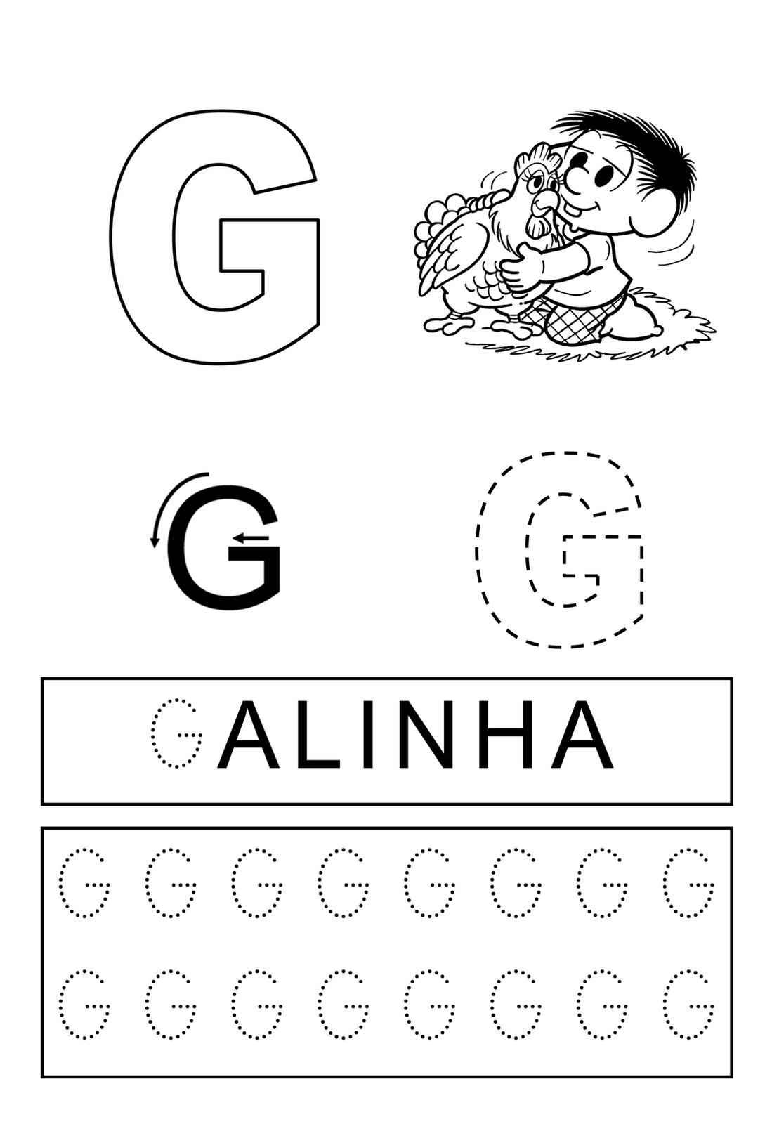 Famosos Resultado de imagem para atividades sobre a letra g   pedagogia  OV49