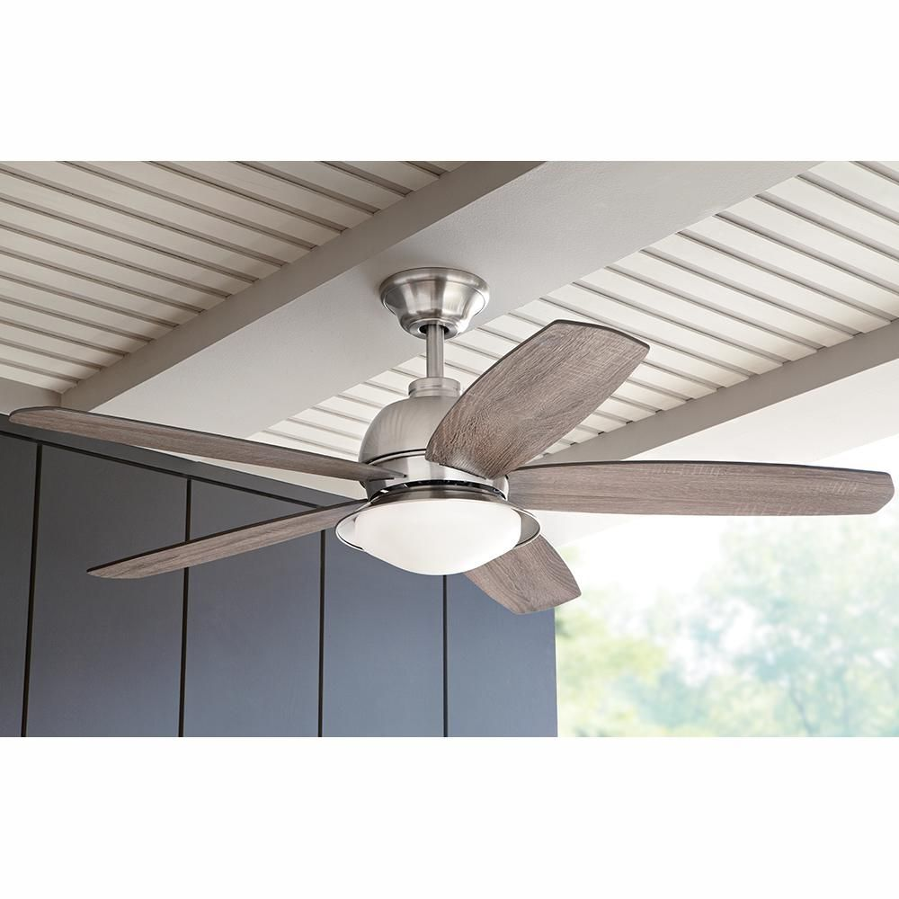 Home Decorators Collection Ackerly 52 In Indoor Outdoor Integrated Led Brushed Nickel Damp Rated Ceiling Fan With Light Kit And Remote Control 56019 The Home Ceiling Fan Ceiling Fan With Light Fan Light