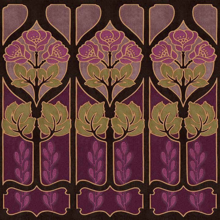 Alphonse Mucha inspired wallpaper border. Arts and Crafts