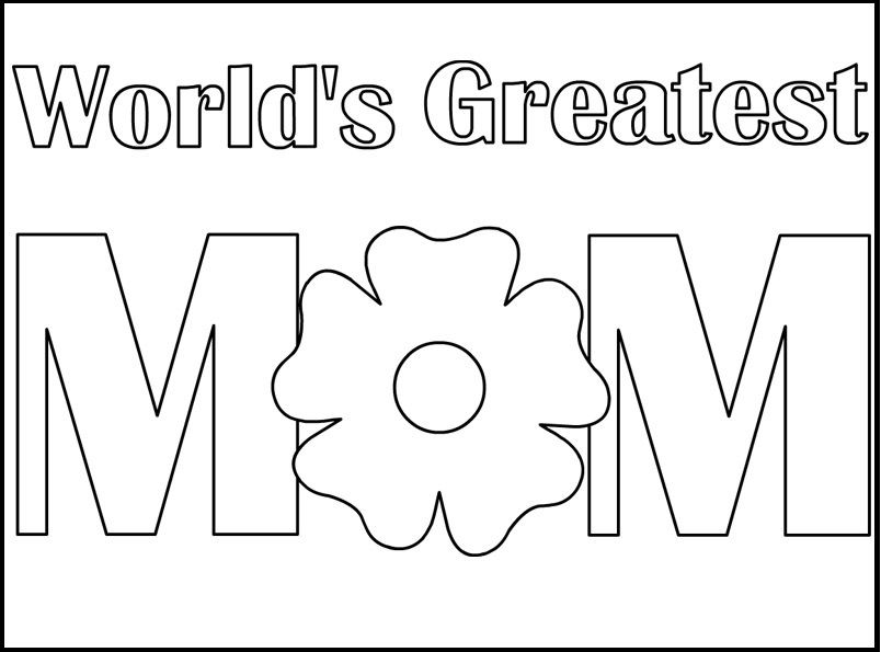 Worlds greatest mom coloring picture for kids · mothers day coloring pagescoloring