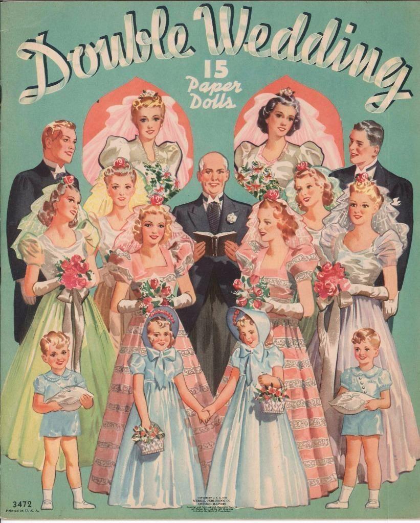 VINTGE 1950 BRIDAL PARTY PAPER DOLL ~GORGEOUS LASER REPRODUCTION~ORIG SIZE UNCUT