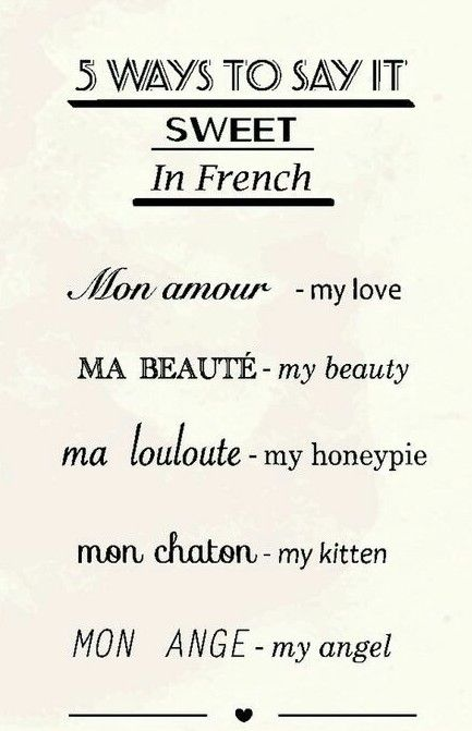 5 Ways To Say It Sweet In French Mon Amour Ma Beaute Ma